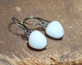 White Agate Earrings Antiqued Sterling Silver White Stone Nugget Earrings Rustic Jewelry Destash Clearance
