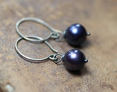 Midnight Blue Pearl Earrings Sterling Silver Pearl Dangle Earrings Real Freshwater Pearl Jewelry