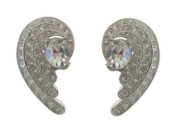 ORA Vintage Rhinestone Earrings, Clip On, 1940s Fine Designer Jewelry, Wedding Jewelry, Statement Earrings