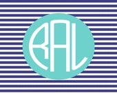 Custom personalized  notecards personalized note cards  monogram cards  monogram stationery blue chevron with name
