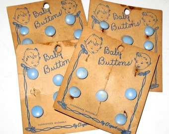 4 Vintage Cards Blue Baby Buttons