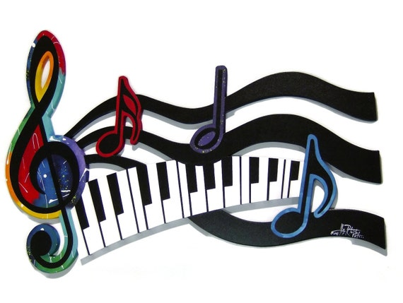 Colorful G Clef Music keys & notes Abstract wall sculpture by Diva Art69 Studios