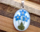 Forget Me Not Pendant - Real flowers preserved in resin - 3 three triple flowers, blue, denim, friends, sisters, memory, remember, sympathy
