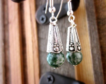 Moss Agate & Silver Stone dangle earrings. Green gemstones with old world style. Gypsy soul, forest, trees, leaves, earth, natural, neutral