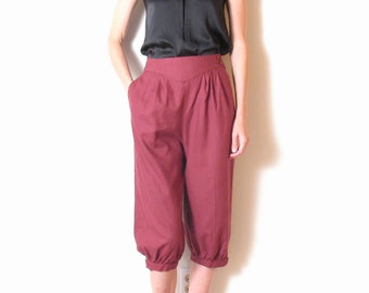 RAW SILK high waisted harem pants, xs