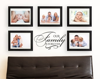 """Family Wall Decal """"Our Family is Forever"""" LARGE Photo Wall Decal Vinyl Lettering Sticker Living Room Wall Decor"""