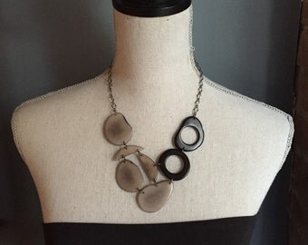 Matte gray and black bib necklace