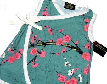 Cherry Blossom Dress -  Pink Girl Dress -  Asian Baby Clothes - Flower Girl Dress-  Baby Wrap - Kimono Dress - Girl Dress nb-18m
