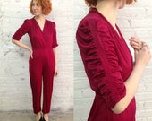 vintage 70s 80s burgundy sexy deep v neck disco jumpsuit / cocktail party prom