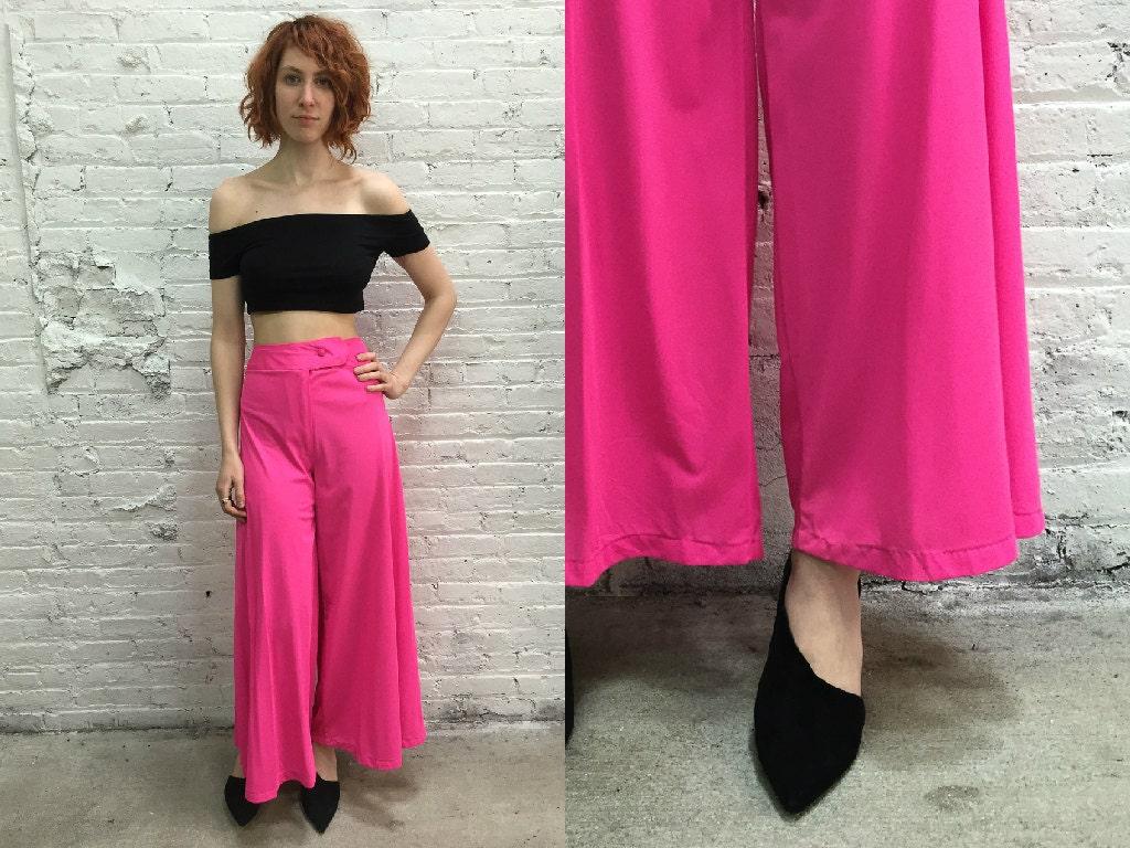 vintage disco pants / hot pink wide leg flare pants / neon