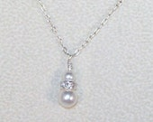 Swarovski Pearl Bridal Jewelry - Double Pearl Drop Necklace - Jr Bridesmaid, Flower Girl