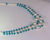 Swarovski Pearl & Crystal Bridal Necklace - Shown with Ivory Pearls and Blue Zircon Crystals - MADE TO ORDER