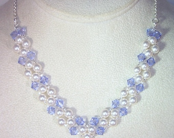 Swarovski Pearl and Crystal Bridal Jewerlry - Necklace -  Made to Order - Available in Any Color - Bride, Bridesmaid, Maid of Honor