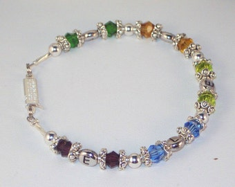 Mother or Grandmother of Up To 5 - Swarovski Crystal Birthstone Bracelet with Children's Initials
