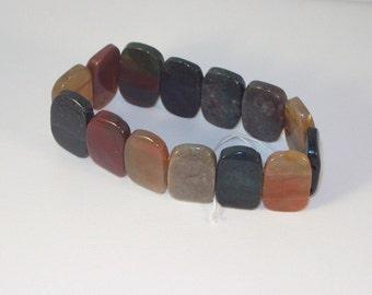 Multi-Agate and Jasper Gemstone Bracelet