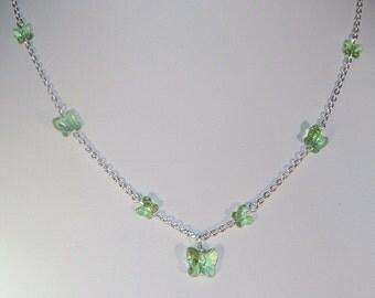 Swarovski Crystal Butterfly Necklace - Shown in Peridot