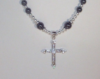 Anglican or Catholic Sterling Silver & Gemstone Rosary Necklace - Made to Order - Hematite
