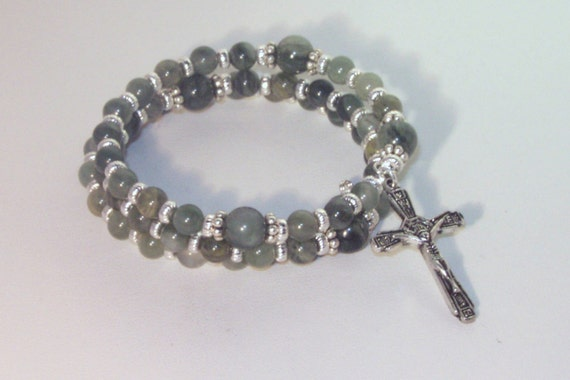 Gemstone Rosary Bracelet - Green Line Jasper - Jewish, Catholic or Anglican, Made to Order - Choice of Gemstones