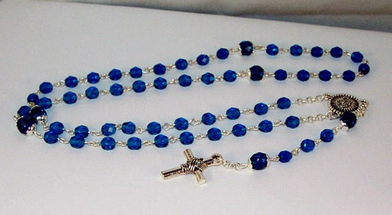 Crystal & Silver Rosary - Any Color - Made to Order - Shown in Blue Zircon - Czech Crystal