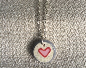 Pink and Red Ceramic Heart Necklace, Handmade, ooak
