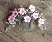 Flower Bridal Comb, Crystal Hair Comb, Clay Flower Bridal hair comb, Wedding Hair Accessories, Bridal Headpieces