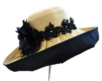 """Women's Straw Hat, Sun Hat for Gardening and the Beach, Spring Summer Fashion Hat, in Natural Tan and Black - """"Cali Casual"""""""