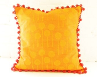 Orange Block Printed Pillow