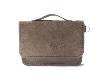 brown leather wallet squirrel schoolbag style