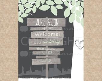 Wedding Sign, Wedding Welcome Sign, Wedding Ceremony, Wedding Reception Sign, Rustic Wedding / Art Print or Canvas / W-W02-1PS XX2 05S