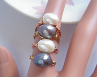 Genuine Freshwater Pearl Ring, Large Baroque Pearl Wire Wrapped Ring, White Pearl Or Gray Pearl