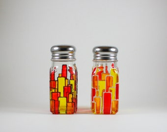 Hand Painted Salt and Pepper Shakers / Geometric Shapes / Stained Glass inspired / Red Yellow Orange