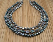 Paua Abalone Necklace Blue Green Pearls Multistrand Statement Peacock Tiered Necklace Shimmer Rainbow Freshwater Pearl Multistrand Rare Find