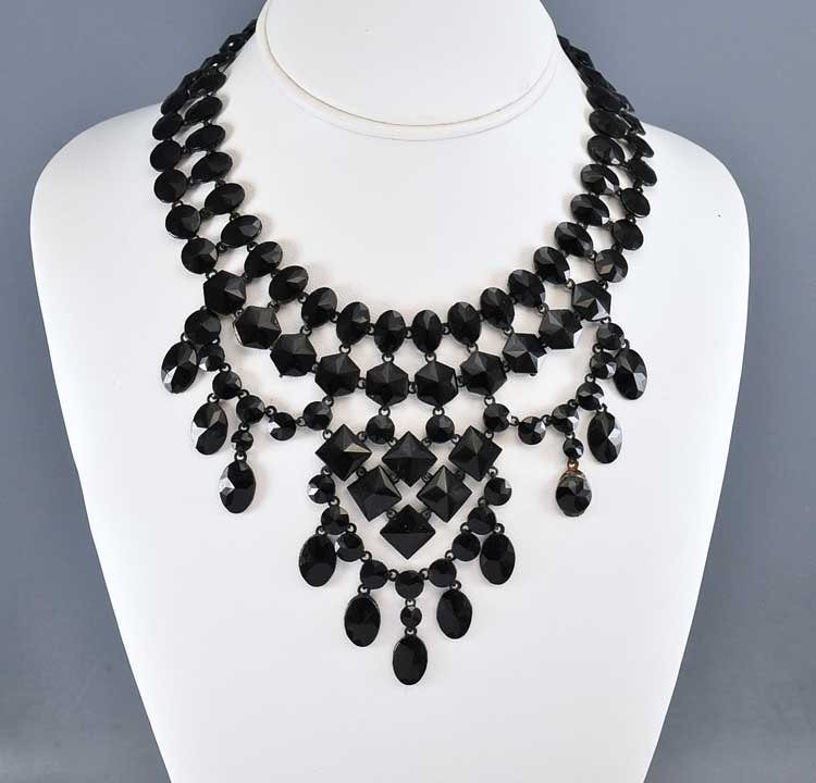 Victorian Necklace Black French Jet Necklace Bib Necklace