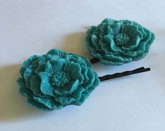 Blue Poppy Bobby Pin for Hair