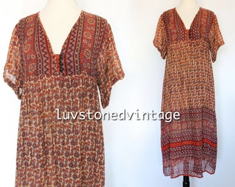 Vintage 70s Indian India Cotton Gauze Boho Hippie Gypsy Ethnic Festival Maxi Midi Ethnic Dress . XS / SM . 972.5.16.15