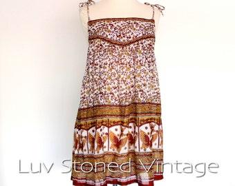 80s Vintage Indian Butterfly Cotton Gypsy Gauze Festival Boho Hippie India Blouse Top Tank Shirt | XS - SM | 1031.7.8.15