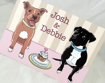 Pit Bulls in Love Greeting Card - Customized with Your Names