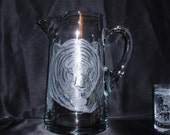 Tiger Water Pitcher, Hand Carved Glass, Etched Glass, Big Cat, African Animals, Safari, Home Decor, Signed by the Artist