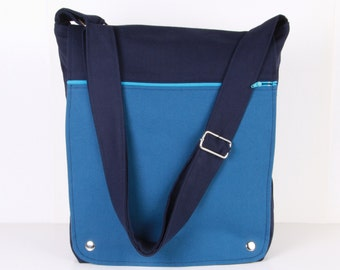 Men Messenger / Dark Blue and Blue Canvas / Cream Lining / Adjustable strap / Women Messenger / Travel Bag