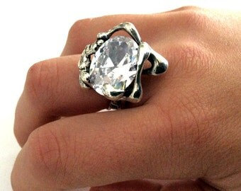 Sterling Silver Ring, engagement ring,  large stone ring,  clear quartz ring, gemstone ring, statement ring, cocktail - Like a dream R1629-1
