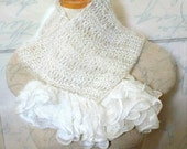 SALE 50 off Lacy Knitted Scarf / Dainty Ruffle / Handmade Lacy Victorian scarf /OOAK Scarf vintage style