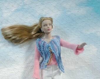 SALE 50 off/ Boho Doll Vest for 16 inch / Knitted Chic /Denim Tonner Tyler Wentworth Sydney Gene Ellowyne  BJD Art Doll clothes