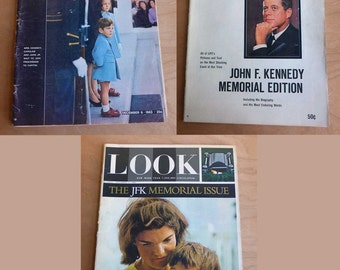 1960s John F and Jackie Kennedy Magazines, Life Look JFK Memorial Magazines, Jackie Kennedy, Lot JFK Magazines