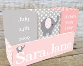 Personalized Wooden Name Birth Blocks Custom Made Pink Chevron Elephant