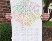 20% off - Letterpress 2016 Wall Calendar Seasonal Split Fountain 11x17