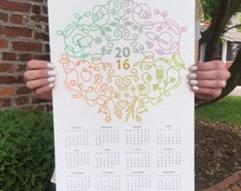 20% off - Letterpress 2016 Wall Calendar Seasonal Split Fountain 11x17