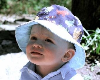 Bucket Sun Hat for Toddler Boys, Hawaiian tiki theme, plaid, cute and beachy
