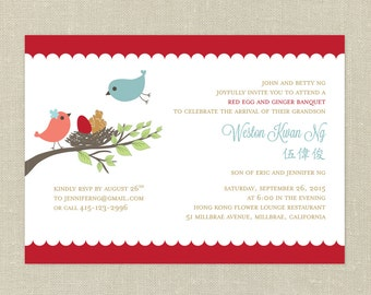 Red Egg and Ginger with Love Birds DIY Printable Invitation