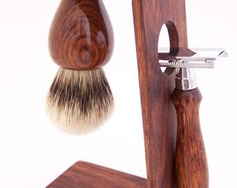 Honduras Rosewood 20mm Super Silvertip Shaving Brush, DE Safety Razor Razor and Stand Shaving Set (Handmade in USA)  H10