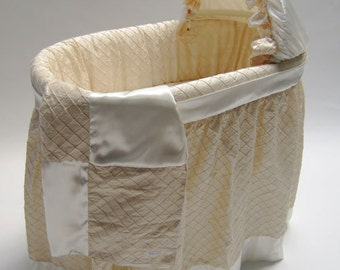 Badger Bassinet with One of a Kind Champagne Silk Bedding included